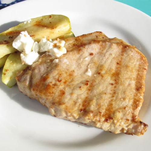 Grilled Pork Chops with Apple and Goat Cheese