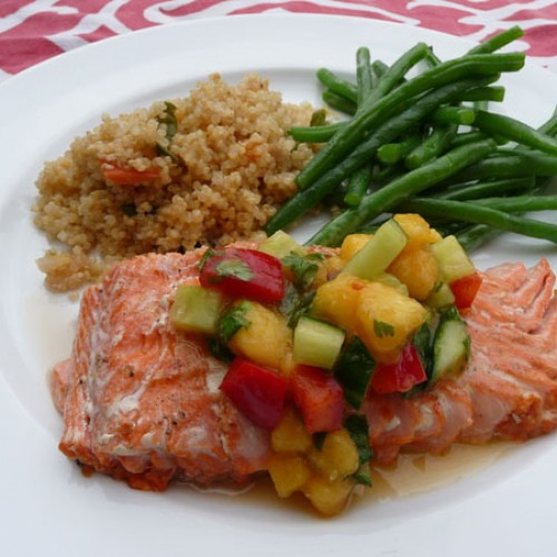 Salmon with Peach Cucumber Salsa