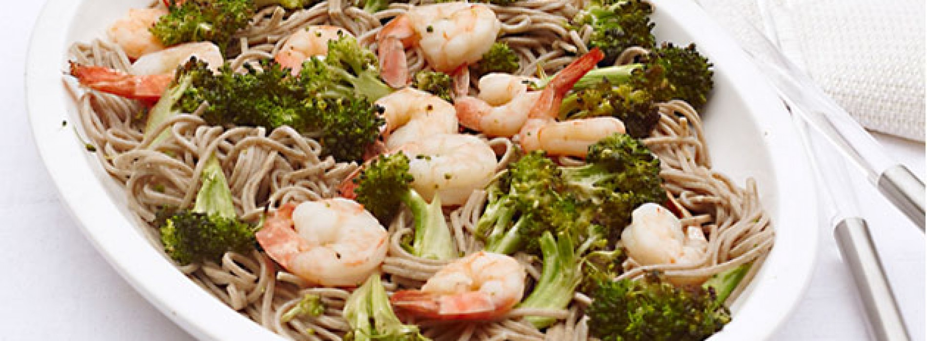 Roasted Shrimp and Broccoli With Soba Noodles