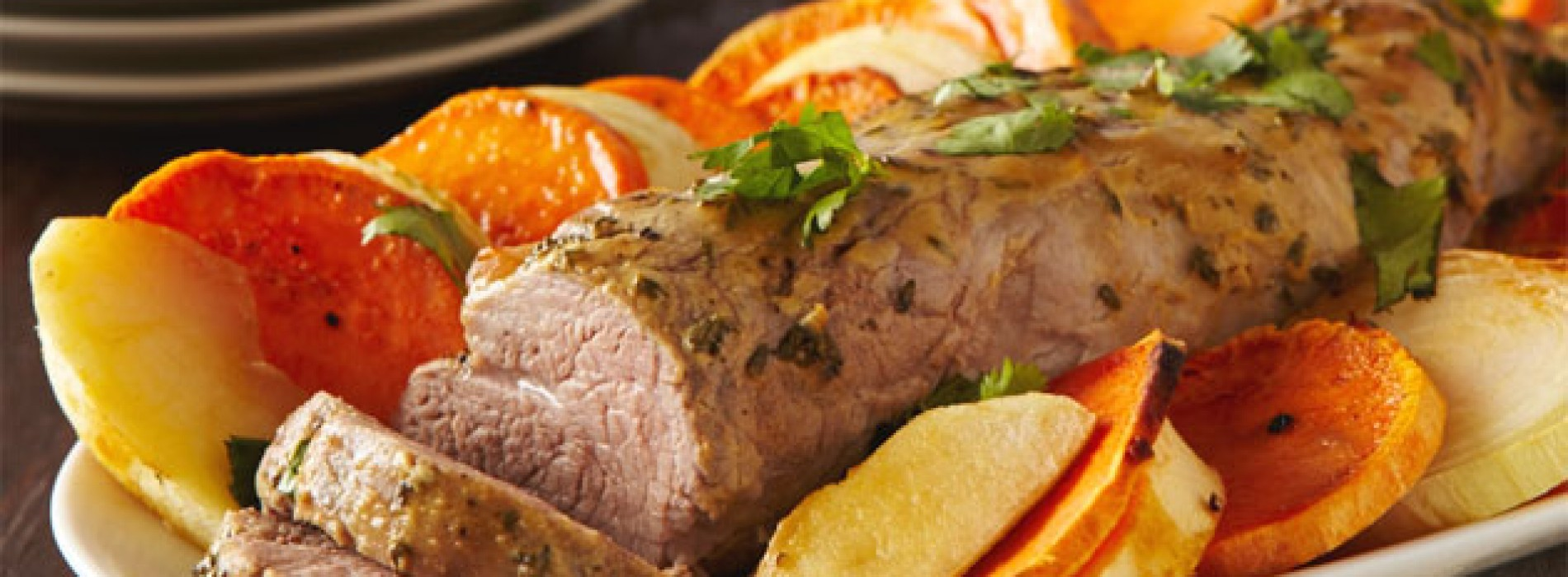 Baked Pork Loin With Sweet Potatoes Recipe — Dishmaps
