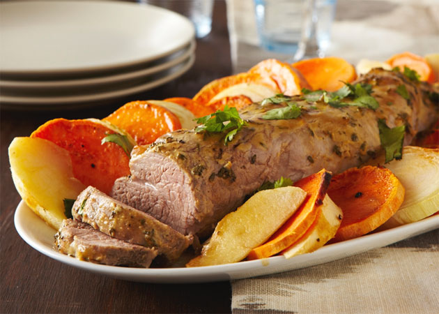 Sunday Dinner Week Roasted Pork Loin With Apples And Sweet Potato