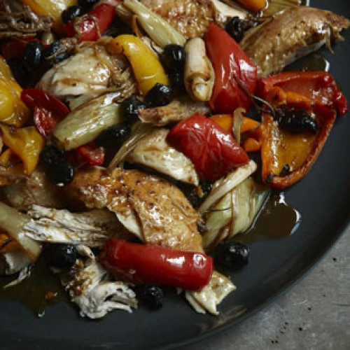Nigellissima: Italian Roast Chicken with Bell Peppers and Olives
