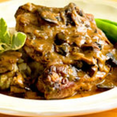 Pork Chops with Mushrooms and Dijon Cream Sauce