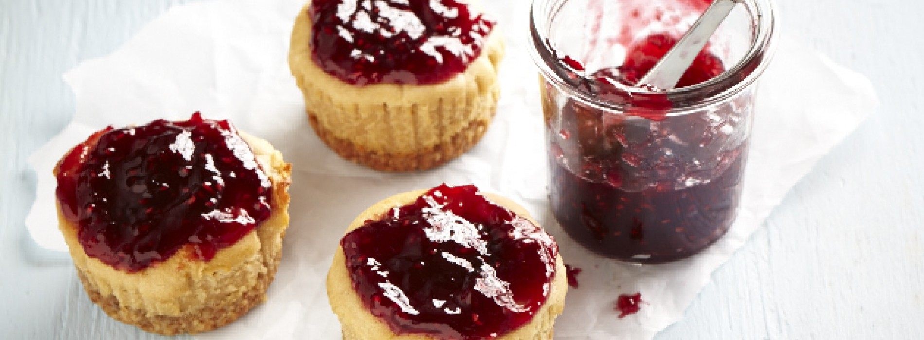 Mini Peanut Butter and Jelly Cheesecakes