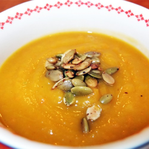 Gluten Free Butternut Squash Soup Topped with Spiced Pumpkin Seeds
