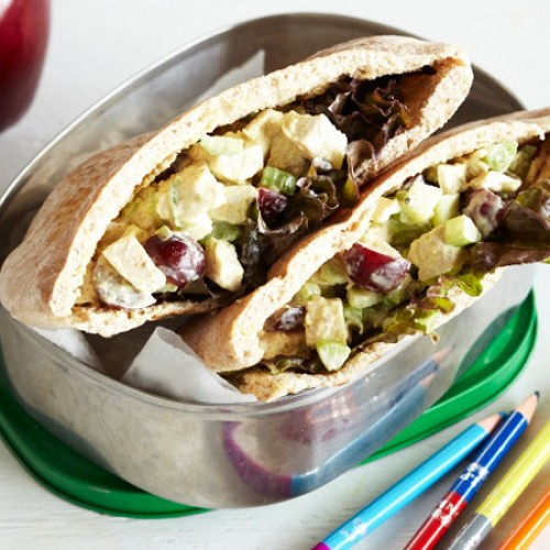Curried Chicken Salad Pita with Grapes
