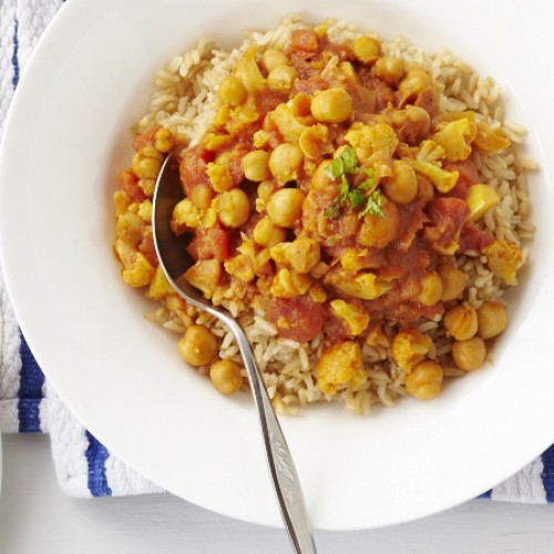 Chickpea and Cauliflower Curry over Brown Rice