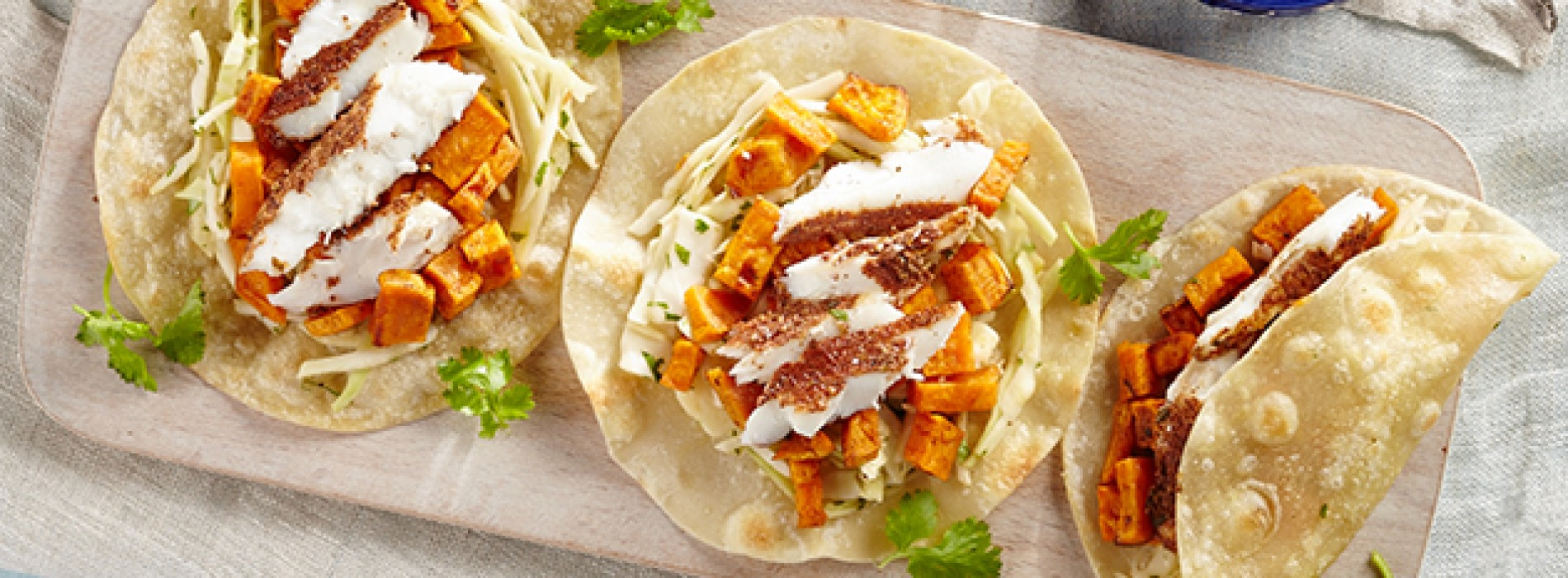 Fish Tacos with Citrus Slaw and Glazed Sweet Potato