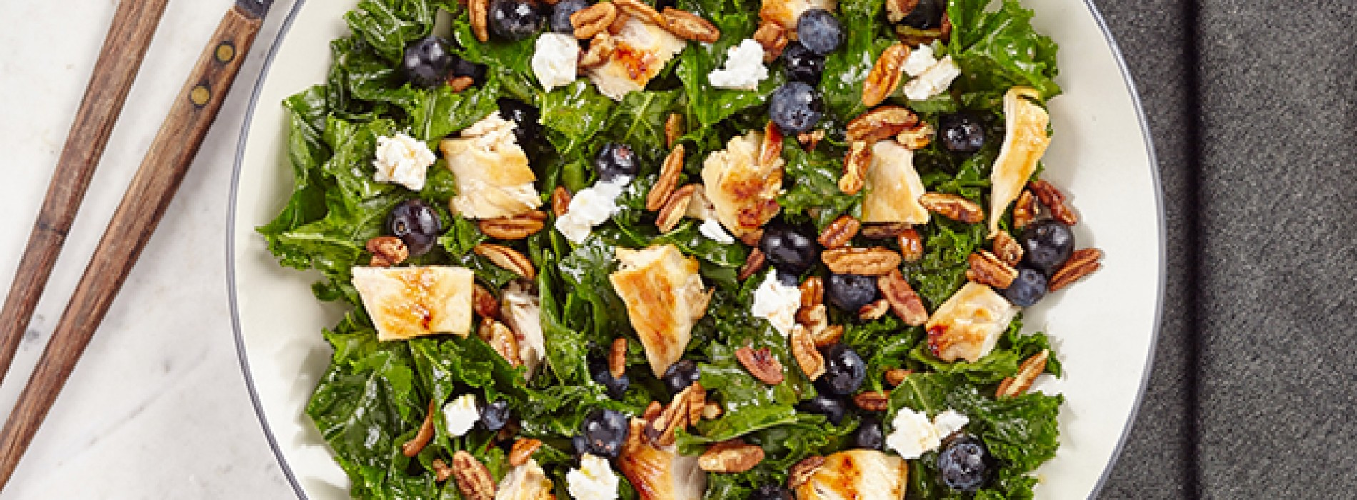 Kale Chicken Salad with Blueberries, Pecans and Goat Cheese