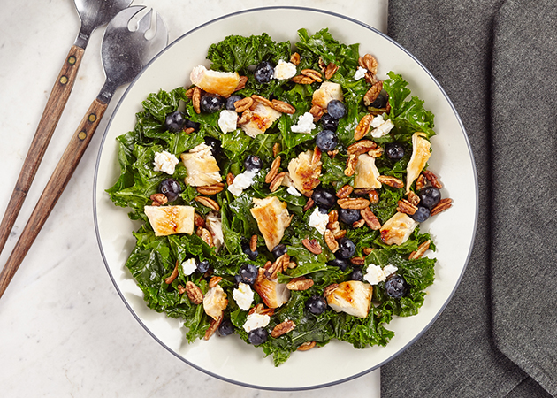 Kale Chicken Salad with Blueberries, Pecans and Goat Cheese - Sweet ...