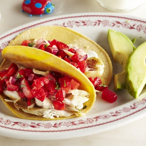 Halibut Tacos with Strawberry Salsa