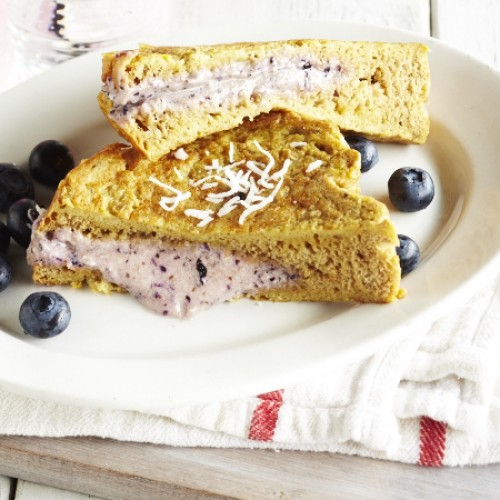 Blueberry Week: Coconut French Toast Stuffed with Blueberry Mascarpone Cream