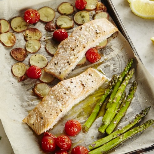 Salmon Dinner Tray Bake