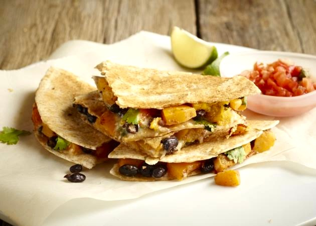 Butternut and Black Bean Quesadillas