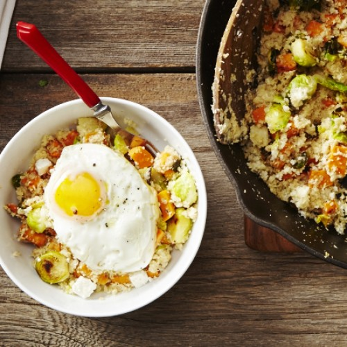 Cauliflower Cous Cous Bowl with Roasted Sweet Potato and Brussels Sprouts