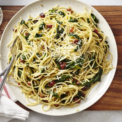 Spaghetti Pasta with Pancetta and Spinach