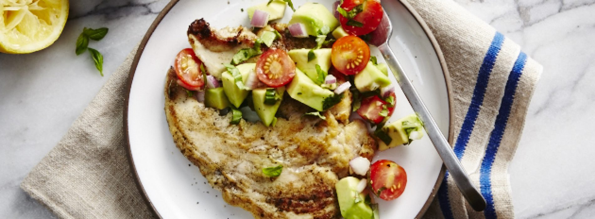 Chicken Paillard with Basil Avocado Salsa