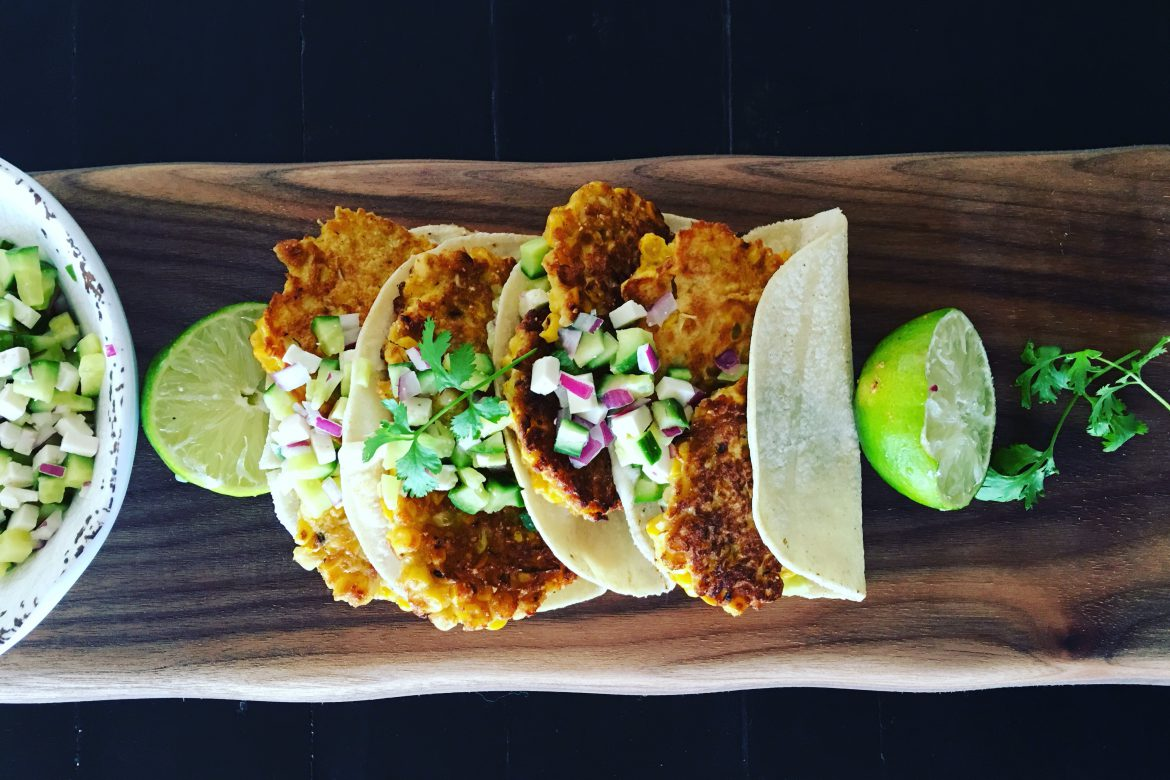 Corn Fritter Tacos with Cucumber and Feta Salsa