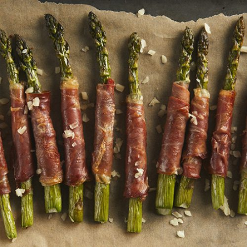 Prosciutto Wrapped Asparagus with Asiago Cheese