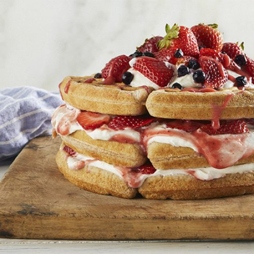 Breakfast Waffle Cake with Yogurt and Strawberry Rhubard Sauce