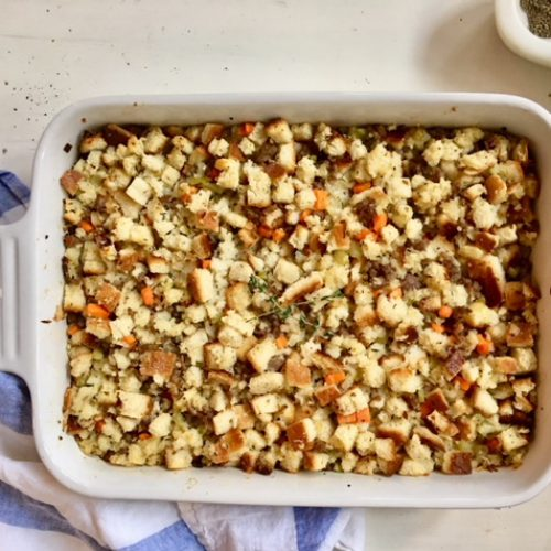 Adrienne's Sausage and Sage Stuffing (AKA my mom's famous Thanksgiving side)
