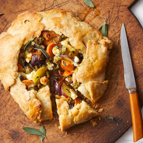 Sweet Potato and Goat Cheese Galette with Yves Veggie Cuisine Broccoli Bites