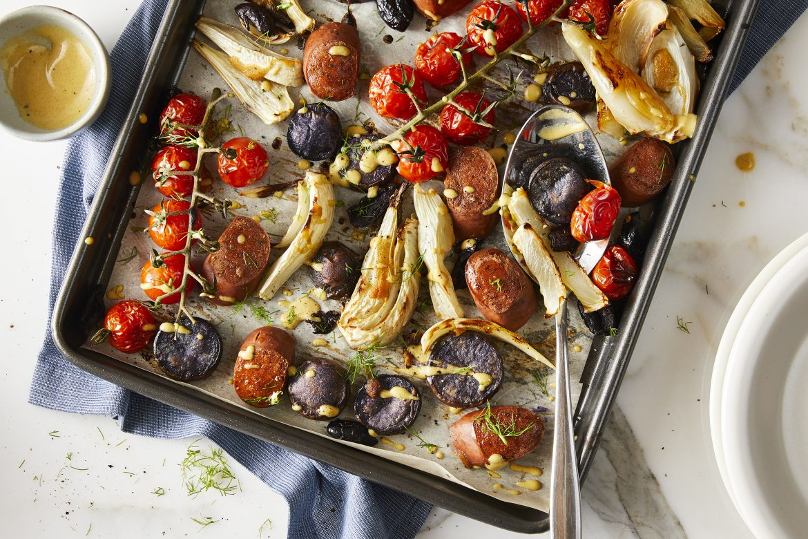Yves Veggie Sausage and Fennel Sheet Pan Dinner