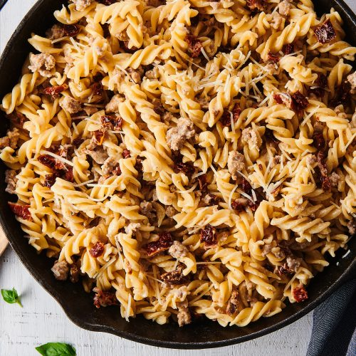 Creamy Fusilli Pasta with Sausage and Sun Dried Tomatoes