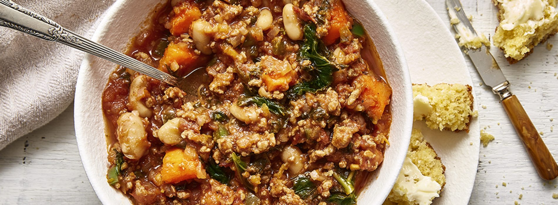 Turkey, Kale and Sweet Potato Chili