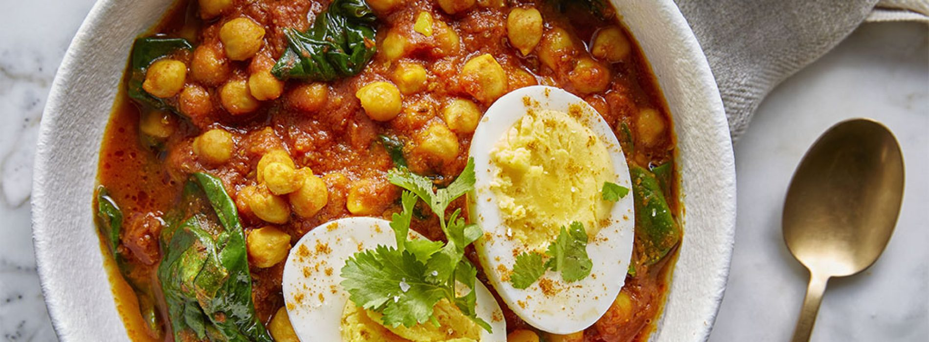 Chickpea, Egg and Spinach Curry