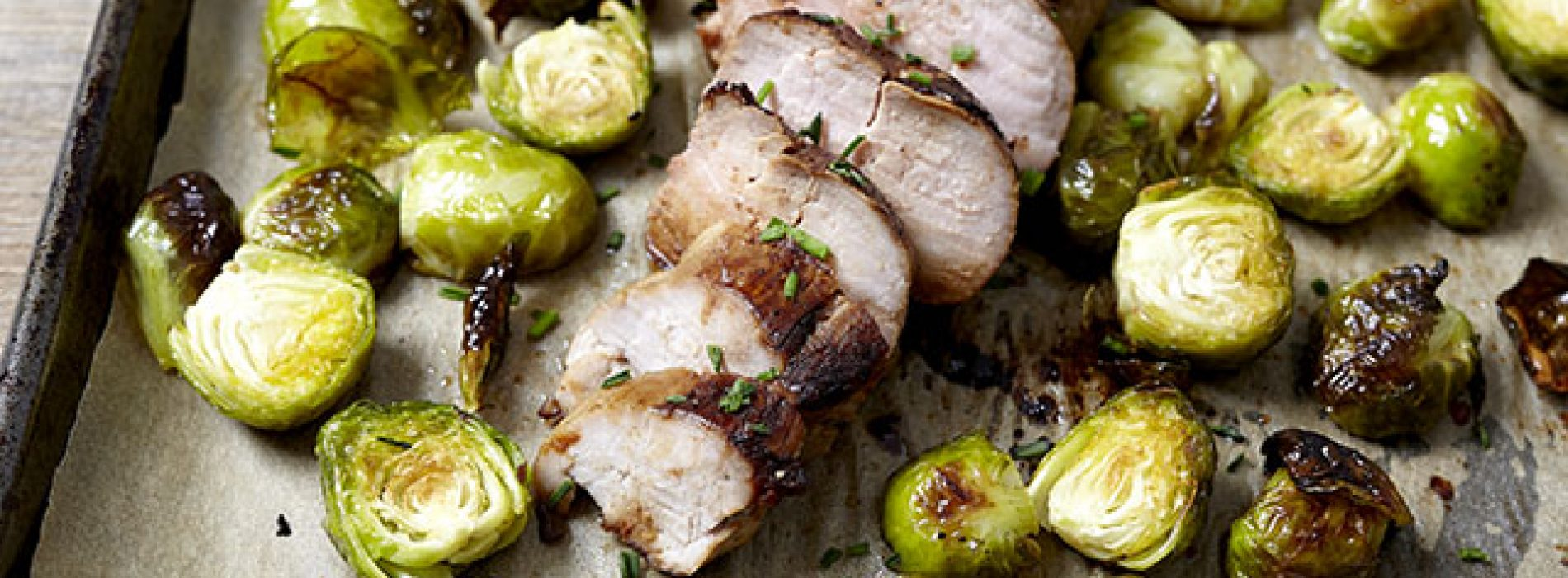 Soy Dijon Pork Tenderloin and Brussels Sprouts Sheet Pan Supper