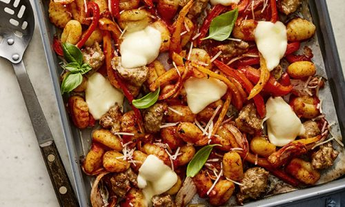 Sausage and Peppers Sheet Pan Gnocchi