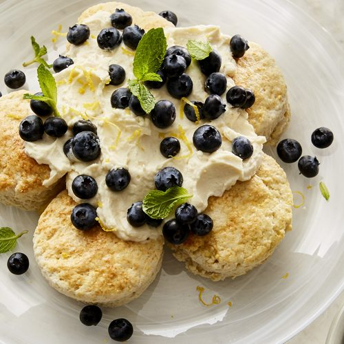 Lemon Biscuit Cake with Mascarpone Cream Frosting and Blueberries